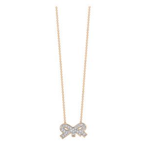 Collier Tiny Diams Bow Or Rose Diamants