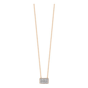 Collier Tiny Diams Rectangle Or Rose Diamants