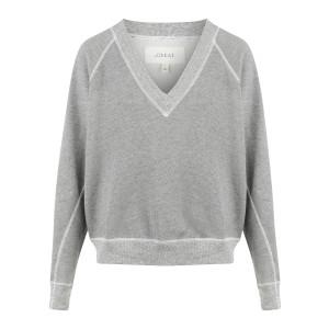 Sweatshirt Col V Coton Gris