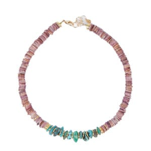 Collier Brazilia Coquillage Violet Turquoise