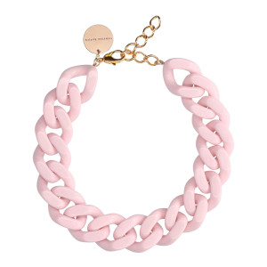Collier Big Flat Rose Bubble Gum