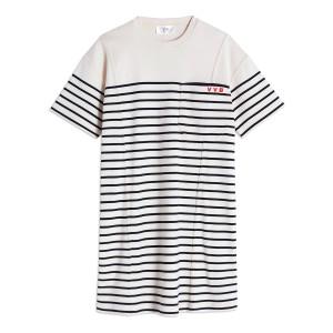 Robe Tee-Shirt Coton Rayures Ivoire