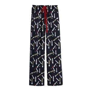 Pantalon Pyjama Recyclé Imprimé Lipsticks Noir