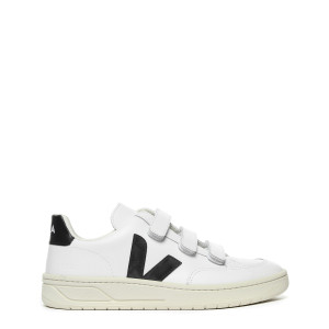 Baskets V-12 Velcro Cuir Extra White Noir