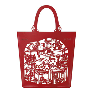 "Sac The China Bag ""Cats and Dogs"" Rouge, Édition Limitée Taschen x Ai Weiwei."