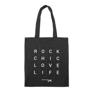 Tote bag Rock Chic Love Life Jeanne Vouland Noir