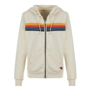 Sweatshirt 5 Rayures Coton Blanc