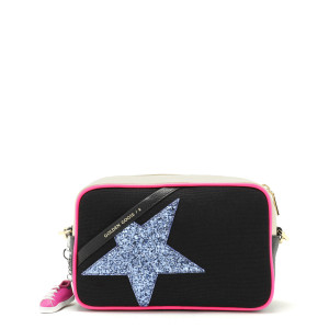 Sac Star Cuir Canvas Glitter Violet Noir