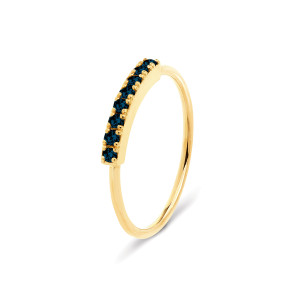 Bague Demi-Alliance Hash Diamants Noirs Or Jaune