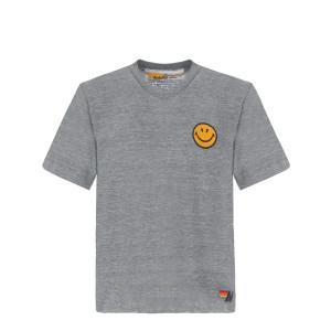 Tee-shirt Smiley Brodé Gris Chiné