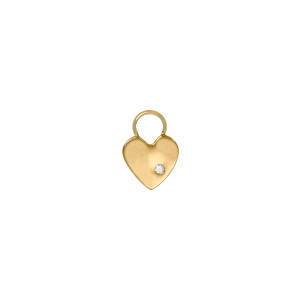 Mini Charm Cœur Or Jaune Diamant