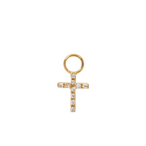 Mini Charm Croix Diamants Or