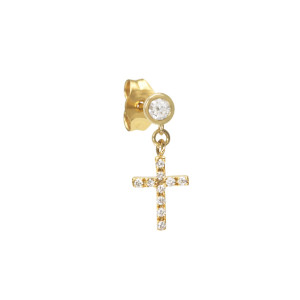 Boucle d'oreille Croix Diamants Or (vendue à l'unité)