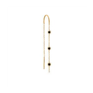 Boucle d'oreille Chaîne 3 Mini Drop Diamants Noirs Or (vendue à l'unité)