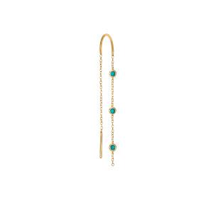 Boucle d'oreille Chaîne 3 Drop Turquoises Or (vendue à l'unité)