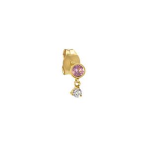 Boucle d'oreille Santé Saphir Rose Or (vendue à l'unité)