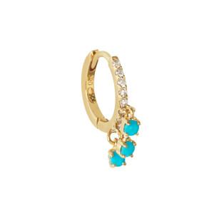 Créole Pavée Diamants 3 Turquoises Or (vendue à l'unité)