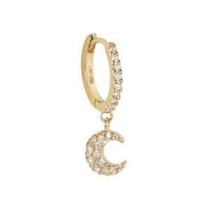 Créole Demi Pavée Lune Diamants Or (vendue à l'unité)