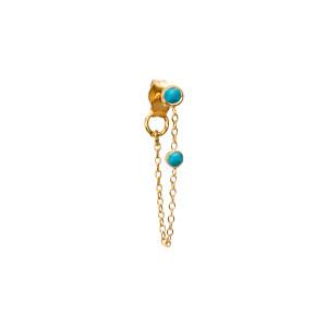 Boucle d'oreille Chaîne Turquoise Or (vendue à l'unité)