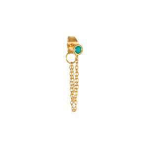 Boucle d'oreille Double Chaîne Turquoise Or (vendue à l'unité)