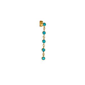 Boucle d'oreille Chute 5 Turquoise Or (vendue à l'unité)