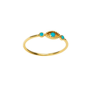 Bague Œil Turquoise Or