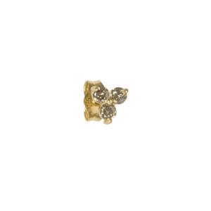 Boucle d'oreille Trilogie Fleur 3 Diamants Cognac Or (vendue à l'unité)