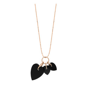 Collier Angele 3 Mini Cœurs Or Rose Onyx