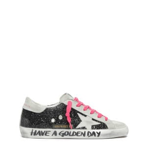 Baskets Superstar Cuir Glitter Noir Lacets Rose, Exclusivité Lulli
