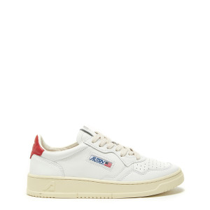 Baskets 01 Low Cuir Blanc Rouge