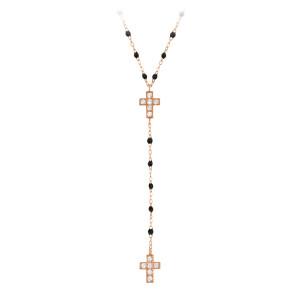 Collier Chapelet Perles Résine Double Croix Diamants
