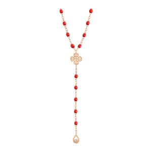 Collier Chapelet Lucky Trèfle Perles Résine Or Diamants