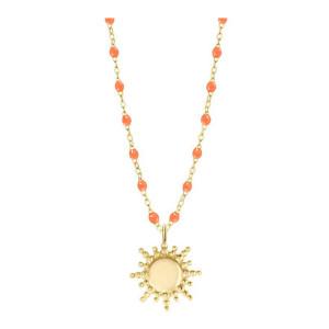 Collier Perles Résine Soleil Or Jaune