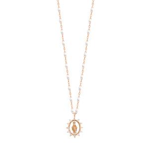Collier Madone Suprême PM Perles Résine Or Diamants 50 cm