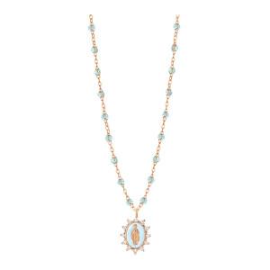 Collier Madone Suprême PM Perles Résines Transparentes Or Diamants 50 cm