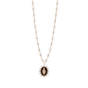 Collier Madone Suprême Perles Résines Transparentes Or Diamants 42 cm