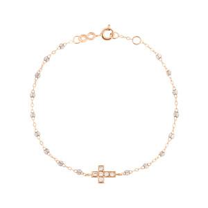 Bracelet Croix Perles Résine Or Diamants