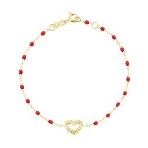 Bracelet Résine Cœur Suprême Diamants Or Jaune