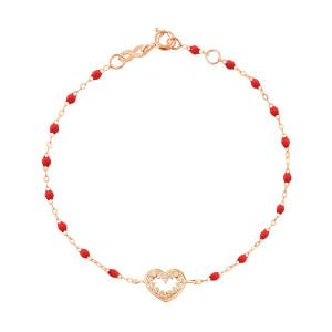 Bracelet Résine Cœur Suprême Diamants Or Rose