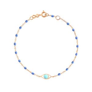 Bracelet Voyage Œil Turquoise Résine Bleu Or