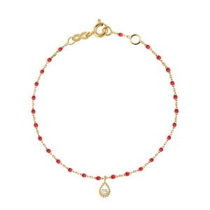 Bracelet Lucky Poire Mini Perles Résine Diamant Or