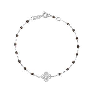 Bracelet Résine Lucky Trèfle Diamants Or Gris