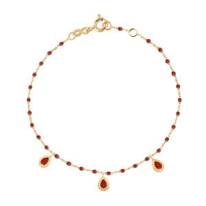 Bracelet Mini Perles Résine 3 Lucky Cachemire Or Jaune