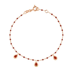 Bracelet Mini Perles Résine 3 Lucky Cachemire Or Rose