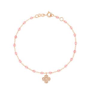 Bracelet Lucky Trèfle Perles Résine Or Diamants