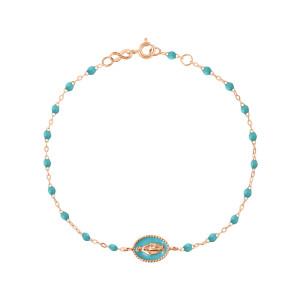 Bracelet Madone Perles Résine Or