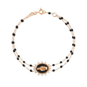Bracelet Madone Suprême Double Perles Résine Or Diamants