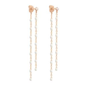 Boucles d'oreilles Pendantes Perles Résine Or Diamants