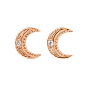 Boucles d'oreilles Lune Or Diamants