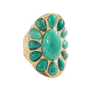 Bague Navajo Turquoise Plaqué Or